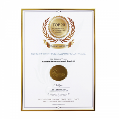 Auweld Top 20 Fastest Growing Corp Certificate