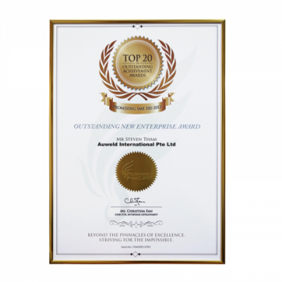 Auweld Top 20 Outstanding New Enterprise Certificate